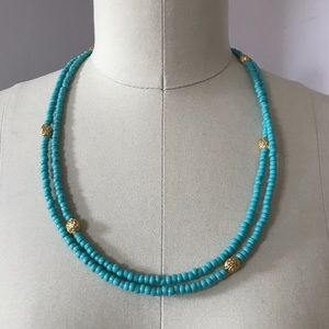 Seasonal Whispers Turquoise/Gold Beaded Necklace